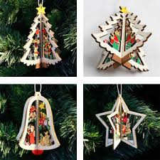 newest 3d wooden hanging tree ornaments decoration for