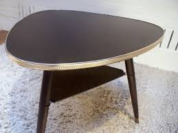 tripod coffee table in formica plywood and brass 1950s design