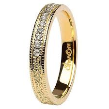 Yellow Gold Wedding Rings by Trinity Knot Diamond Set 14k Yellow Gold Wedding Ring