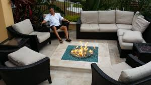 Outdoor Propane Fire Pit Outdoor Propane Fire Pit With Grey Ceramic Floor And Brown Sofa