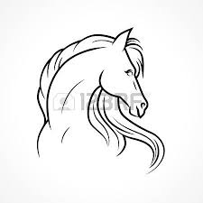silhouette of horse vector linear drawing royalty free cliparts