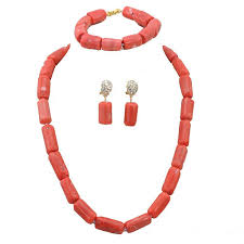 bead necklace pink images Africanbeads pink coral beads nigerian bridal jewelry jpg