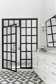 Black Shower Door Black And White Shower Tiles With Moen Fixtures Contemporary