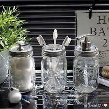 Glass Bathroom Accessories Sets Ball Mason Jar Vintage Glass Bathroom Accessory Set With Nickel
