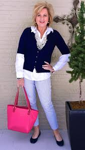 preppy for women over 50 pearls go with everything striped cardigan color fashion and pearls