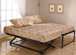 furniture black twin metal bed frame with pop up trundle combined