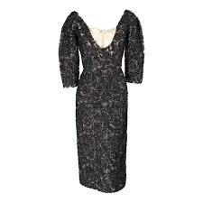 black silk ribbon 1950 s couture lace dress embroidered with black silk