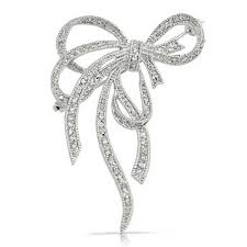 ribbon bow pave cubic zirconia silver tone fancy knot bow ribbon brooch pin