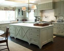 gray green color kitchen farmhouse with white walls decorative