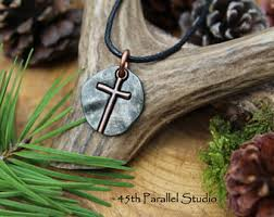 mens cross necklace rustic cross pendant mens christian