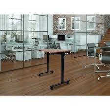 standing desk on wheels luxor black and teak desk with wheels standcf60 bk tk the home depot