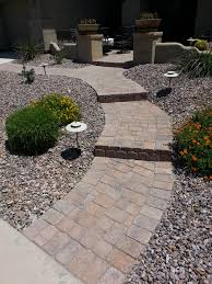 another paver walkway curved with steps