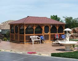 Gazebo Screen House by Red Cedar Single Roof Rectangle Gazebos Gazebos By Material