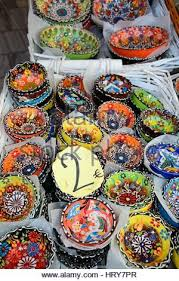 traditional cretan ceramic dishes for sale outside an town