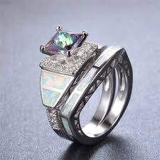 opal wedding ring mysterious rainbow zircon white opal wedding ring set for