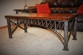 Distressed Oak Coffee Table Unique Crafted Custom Iron Bridge Welded Steel
