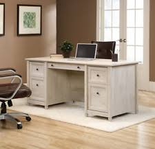 Small Executive Desks Sauder 418795 Edge Water Chalked Chestnut Executive Desk Ebay
