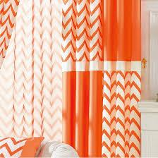 Geometric Orange Curtains Brief Ready Made Orange And White Striped Chevron Curtains
