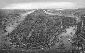 A Map Of New York City by New York City Panoramic 1873 Black And White Wall Map Mural