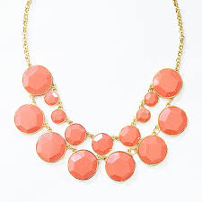 resin bead necklace images Bauble box bib chunky coral necklace with gold chain resin beads jpg
