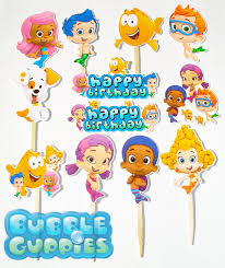 guppies cake toppers 12 guppies birthday party cupcake cake sticker toppers on