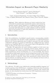 how to write a thesis paper introduction metadata impact on research paper similarity springer research and advanced technology for digital libraries research and advanced technology for digital libraries