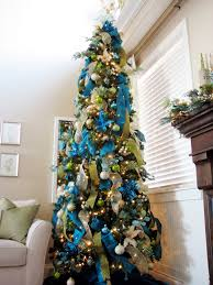 tree decorations ideas with blue green and silver