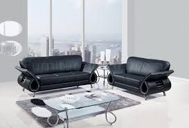 U Living Room Sofa Set In Black Leather By Global - Curved contemporary sofa living room furniture
