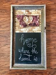 montana wine cork board and chalkboard in a barnwood frame home