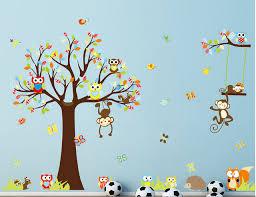 sticker mural chambre bébé le singe renard hibou stickers muraux pour enfants chambre bébé