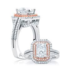 emerald cut diamond engagement rings a jaffe double halo emerald cut rose gold diamond engagement ring