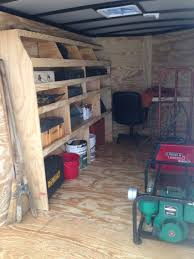 cargo trailer diy shelves and small desk