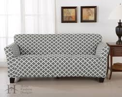 Slipcovers Sofa by Brenna Collection Strapless Twill Form Fit Furniture Slipcover