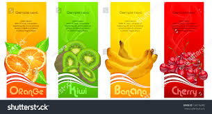 Best Color With Orange Banners Orange Banana Kiwi Cherries On Stock Vector 104176280