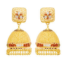 gold erring earrings square shape with hanging gold earrings grt jewellers