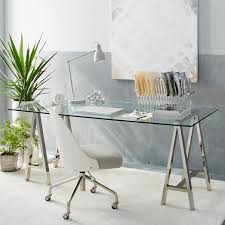 nickel plated desk l cross base desk polished nickel west elm