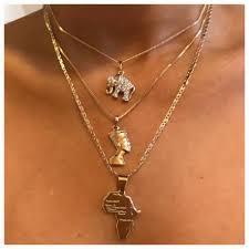 free necklace images Mini nefertiti elephant african map necklaces tarnish free jpg