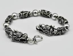 silver antique bracelet images Thai silver bracelet domineering personality two dragons playing jpg