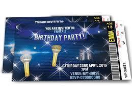 personalised karaoke music popstar party invitations