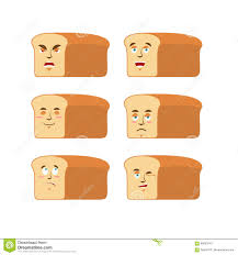 toast emoji bread emoji emotion set aggressive and good rooty face surpri