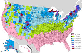 Map The Usa by Average Yearly Snowfall In The Usa By County Oc 1513 X 983