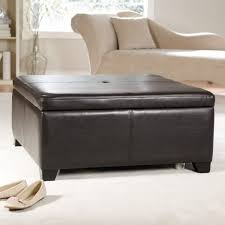 Leather Ottoman Cocktail Table Leather Coffee Table With Storage Black Leather Ottoman Coffee