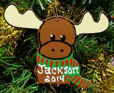 wooden moose christmas ornaments ebay