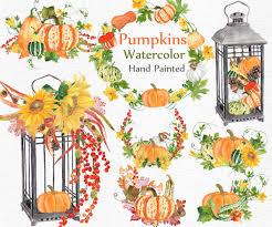 hand painted pumpkin halloween clipart watercolor pumpkin clipart harvest clipart autumn