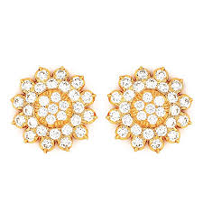 gold ear studs gold lotus diamond ear studs jewellery ear studs