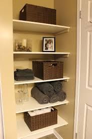 Bathroom Closet Shelves Km Decor Diy Organizing Open Shelving In A Bathroom Boxes Same