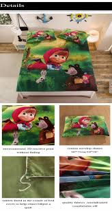 home textile 3d masha and bear children bedding set 2 3pcs twin