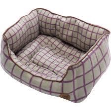 pet bed soft fleece green u0026 purple window pane check cat dog puppy
