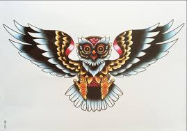 2pcs 3d owl wing black colorful large temporary