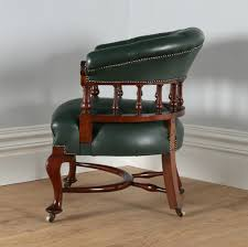 victorian mahogany office green leather desk tub library captains